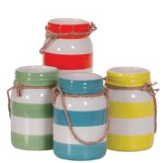 Summer Striped Jar with Rope Handle