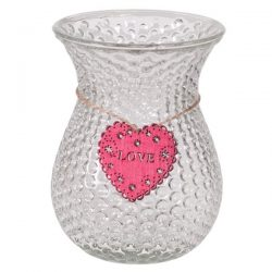Dimpled glass vase with Heart