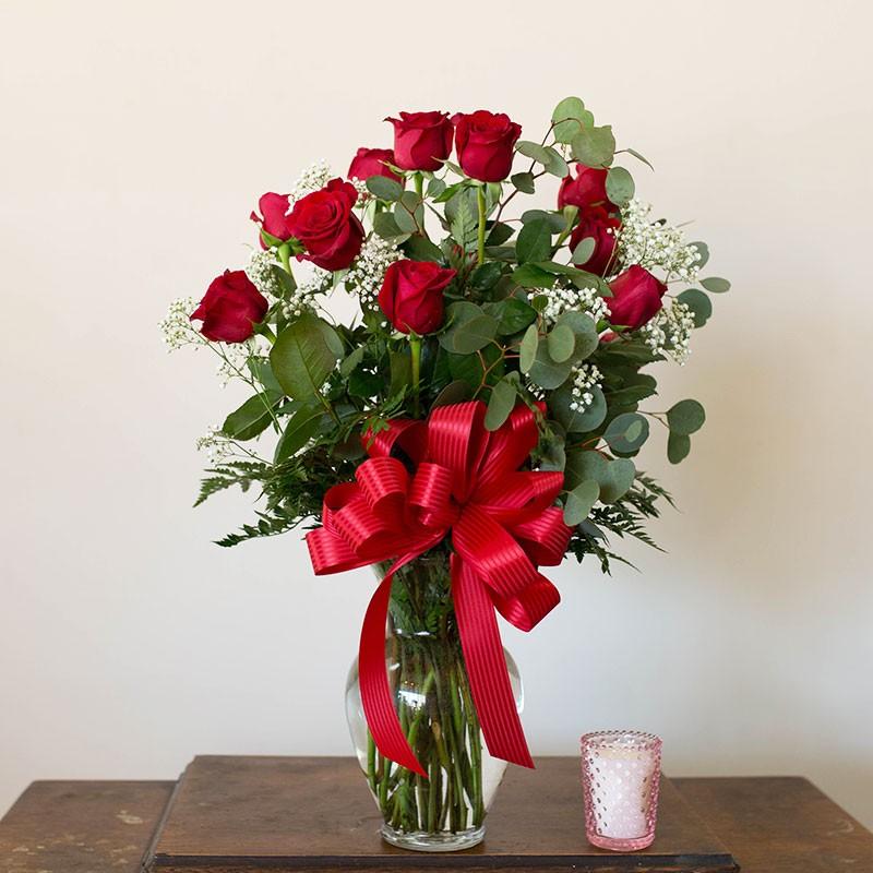 Dozen Rose Vase Arrangement Sequoia Floral