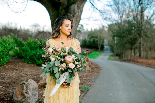 bride with bouquet, gaze